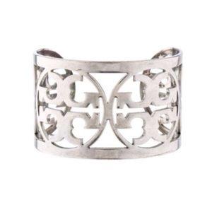 Tory Burch Silver Logo Wide Bangle Cuff Bracelet